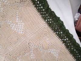"Antique Crochet Doily, Ecru w/Green Edging approx 17"" x 15""          #14... - $10.49"