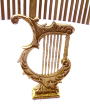 """Large Gold and Glitter Christmas Harp Ornament 4 1/2"""" x 5 3/4 #32009 - $4.49"""