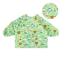 Green Cotton Waterproof Sleeved Bib Baby Feeding Bibs Art Smock 2 PCS 2-4 Years