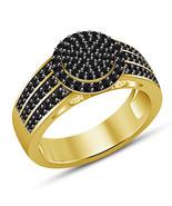 925 Sterling Silver Womens Black Diamond Engagement Ring 14K Yellow Gold Finish - $72.99