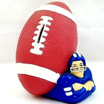 Football Shape Coin Piggy Bank 1988 Vtg Leahy Trading Blue Jersey Player... - $11.17