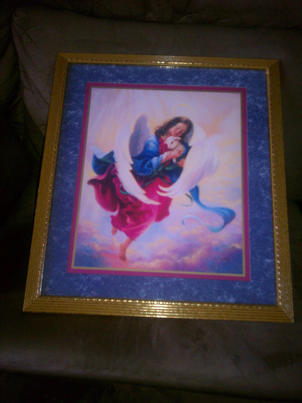 Homco Angel With Lamb Picture Home Interiors Wall Decor