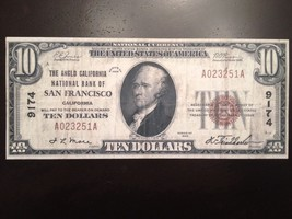 Reproduction $10 Bill 1929 Anglo California National Bank of San Francisco Note - $2.96