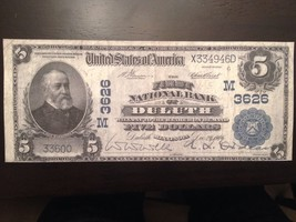 Reproduction Copy $5 Bill National Bank Note 1902 First National Bank Duluth, MN - $2.96