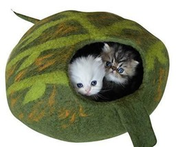 Earthtone Solutions Best Cat Cave Bed, Unique Handmade Natural Felted Me... - £41.09 GBP