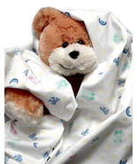 Teddy Bear Flannel Baby Blanket, boy girl nurse... - $12.95