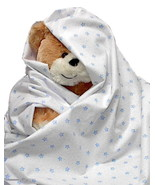 Lil Blue Star Flannel Baby Blanket, boy girl in... - $12.95