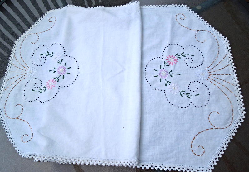"""Vintage Table Runner - Floral Embroidery  17 1/4"""" x 42""""   WHITE #4505/#8009 - $14.99"""