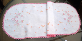 Vintage Runner With Pink Floral Embroidery and Crochet Trim  #4715 - $12.99