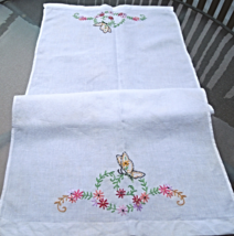 """Antique Linen Runner White w/ Butterfly and Flower Embroidery 16""""x34""""    #4456   - $12.99"""
