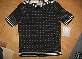 Ladies LIZ CLAIBORNE Petite Graphic Matters S Cotton Shell TOP Black White  NEW - $14.99