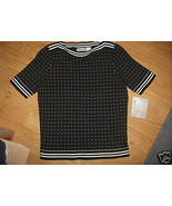Ladies LIZ CLAIBORNE Petite Graphic Matters S Cotton Shell TOP Black Whi... - $14.99