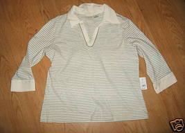 Ladies CHEROKEE Soft Cotton shell London Smoke Stripe TOP SHIRT 3/4 sleeve L NWT - $9.99
