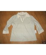 Ladies CHEROKEE Soft Cotton shell London Smoke Stripe TOP SHIRT 3/4 slee... - $9.99