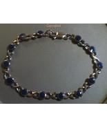 Natural Lapis Kiss Design Link PETITE Bracelet ... - $52.00