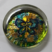 Vintage Retro Pychedelic Butterfly Foil Backed Glass Paperweight - $10.00
