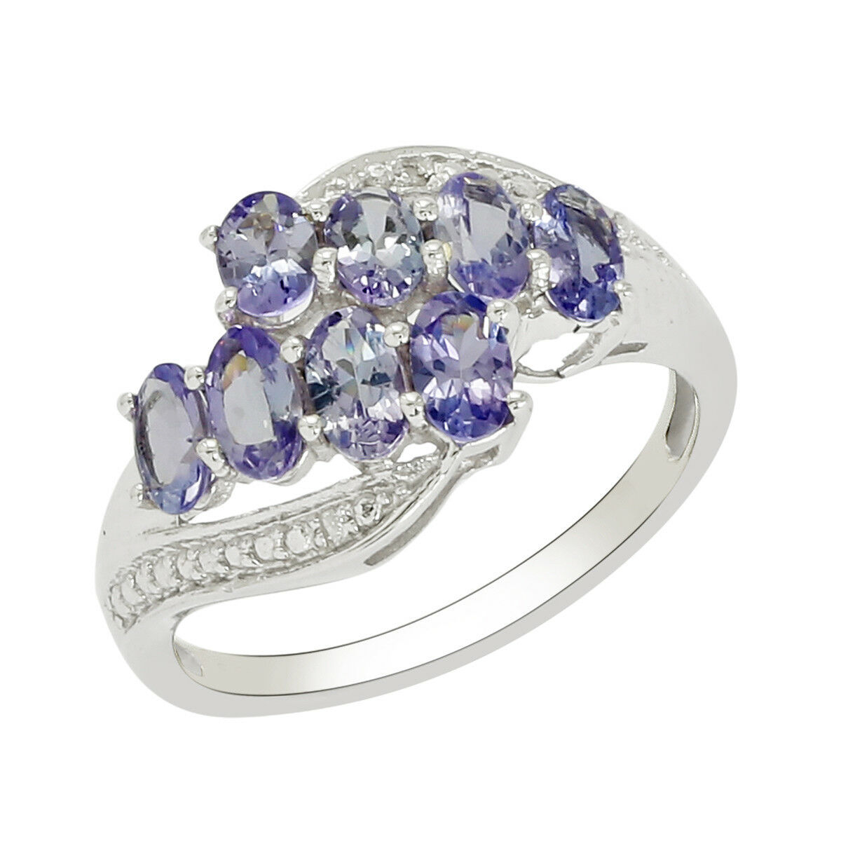 Ladies 925 Sterling Silver 2.16 Carat Tanzanite Cluster Ring Women's FineJewerly
