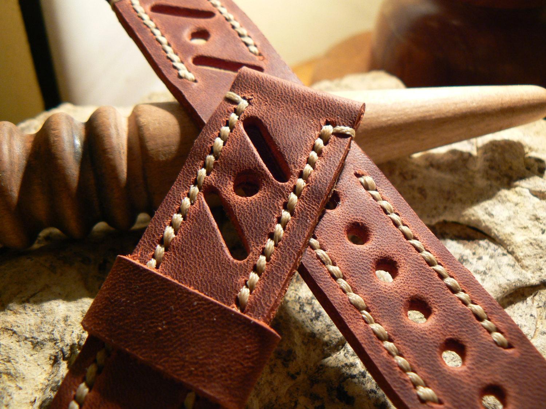 Leather  Watch strap Racing Style  Handmade band Strap watch Panerai strap Leath - $36.12