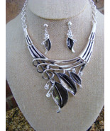 SILVER WITH BLACK ENAMELED LEAF NECKLACE SILVER CHAIN AND EARRINGS - $15.88