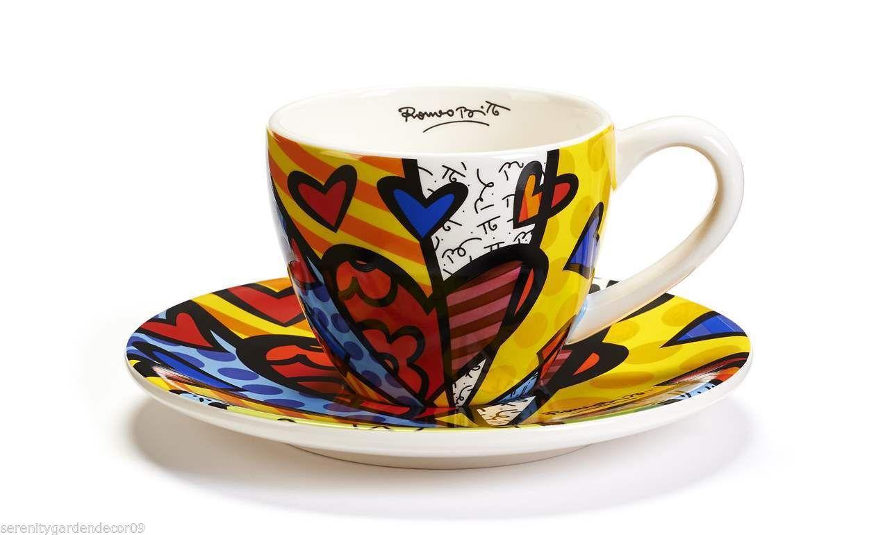 "Romero Britto Heart Design  "" A New Day "" Teacup & Saucer Set 7 oz Size  #334013"