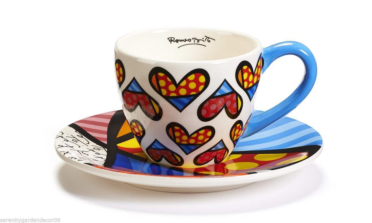 "Romero Britto ""Heart Design"" Teacup & Saucer Set 7 oz Size  #334012"