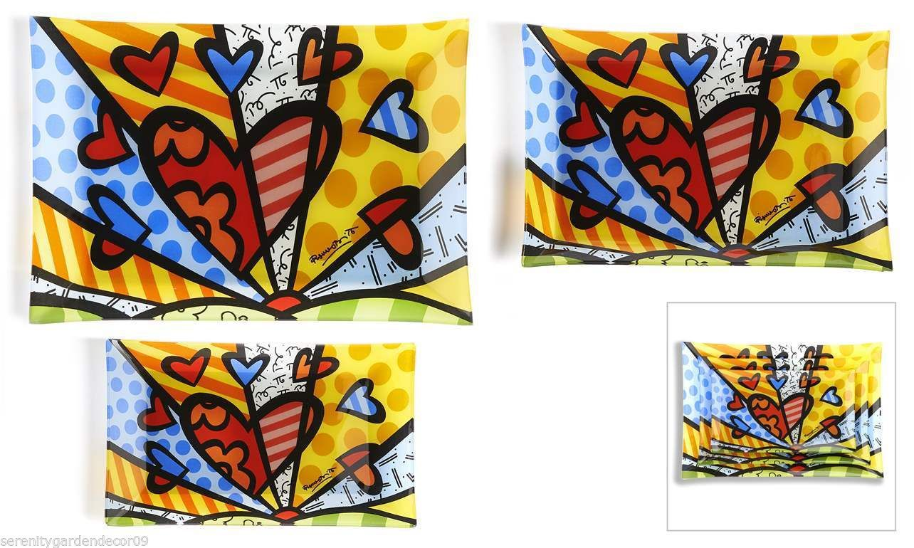 """Romero Britto Painted Glass Nestled Rectangular Plates """"A New Day Design"""
