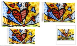 "Romero Britto Painted Glass Nestled Rectangular Plates ""A New Day Design"