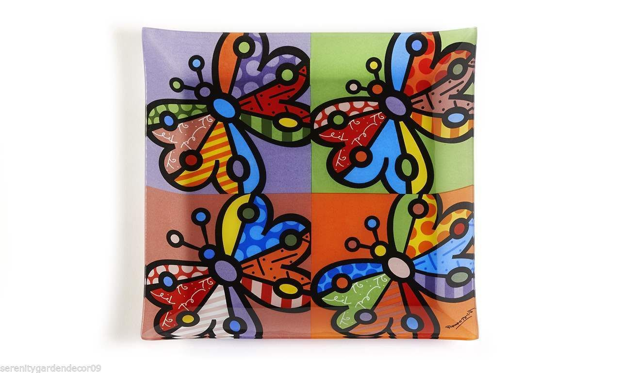 "Romero Britto 12"" Square Painted Glass  Plate ""Butterfly"" Design"