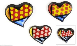 """Romero Britto Set of 3 Painted Glass Nestled Heart Shaped Plates """"Heart""""... - $41.71"""