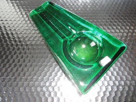 Comoy's of London Emerald Green Heavy Glass Cigar Ashtray made in Italy - $95.00