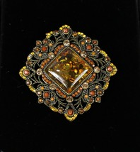 """Vintage 1.75"""" Across Amber Red Beaded Stoned Jeweled Square Medallion Part - $12.67"""