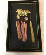 Asian Oriental Foo Dog 3D Art Sewn Textile Framed in Beautiful Frame Tas... - $79.19