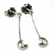 SOLID 18K WHITE GOLD PENDANT EARRINGS, ROLO CHAIN WITH MOON, DIAMONDS, 27mm  image 1