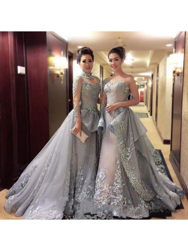gorgeous prom dresses,long gray Prom Dress,charming evening dresses,prom gown,