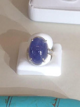 Huge 28.3 ct Tanzanite Cabochon &  diamond 14k white gold engagement  ri... - $6,799.99
