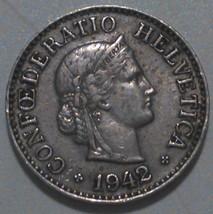 1942 B Switzerland, Suisse, Confédération Helvétique,10 Rappen AU Coin  ... - $4.46