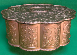 Large Scalloped-Edged Round Gold Plastic Sewing Or Storage Box - $4.95