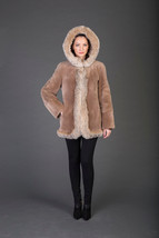Luxury gift/Light Brown Beaver Fur Coat/Fur jacket /Fox Hooded Wedding,o... - $1,350.00