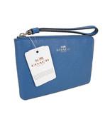 Coach Signature Wristlet Bag Purse Genuine Leather Crossgrain Lapis Blue... - $49.49