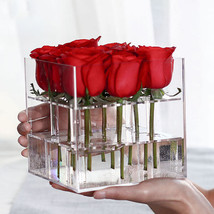 New Fashion Clear Acrylic Rose Flower Box Makeup Organizer Cosmetic Tool... - $73.06 CAD