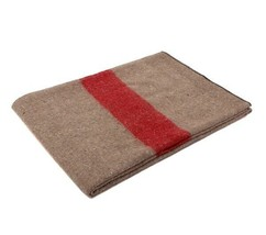 Rothco Tan With Red Stripe Wool Blanket - 10238 - $24.74