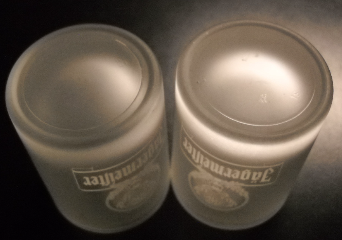 Jagermeister Shot Glass Frosted Glass Heavy Base White Stag Print 2cl Set Of Two