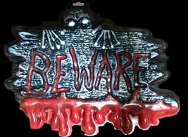 Bloody Zombie Warning Sign--BEWARE--Wall Decor Halloween Horror Prop Dec... - $4.92