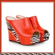Zebra Open Toe PU Leather Platform Wedge Sandals in Orange White or Black