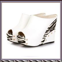 Zebra Open Toe PU Leather Platform Wedge Sandals in Orange White or Black image 2