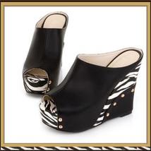 Zebra Open Toe PU Leather Platform Wedge Sandals in Orange White or Black image 3