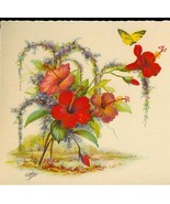 EG Barnhill Highwaymen Style 30s Signed Old Florida Print Hibiscus - $7.00