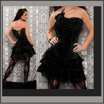 Black Satin Brocade Victorian Gothic Lace Up Bustier Corset W/ Lace Skirt