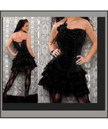 Black Satin Brocade Victorian Gothic Lace Up Bustier Corset W/ Lace Skirt  - $73.95