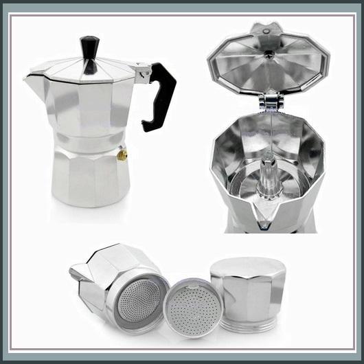 Italian Moka Espresso 1 Cup to 12 Cup Sizes Stove Top Coffee Percolator Brew Pot